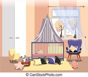 椅子, furniture., 黄色, 子供, 部屋, childrens, 内部, 容易である, 新生, ∥あるいは∥, 寝室, おもちゃ, 託児所, 色, おおい, イラスト, ピンク, 秋, 平ら, ベクトル, 風景, ベッド, 窓, 暖かい