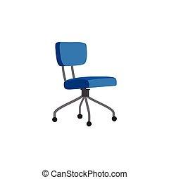 椅子, isolated., アイコン, 漫画, 青, 旋回装置, オフィス, イラスト, ベクトル, 平ら