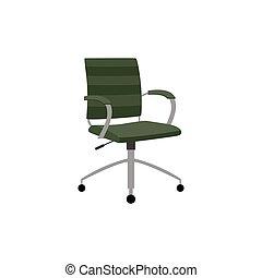 椅子, isolated., 旋回装置, パッドを入れられる, オフィス, イラスト, ベクトル, 平ら, 席
