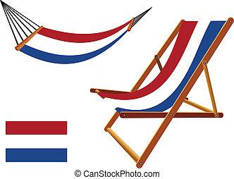 椅子, netherlands, セット, ハンモック, デッキ