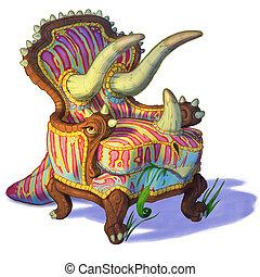 椅子, triceratops, 結合された, イラスト, 漫画