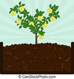 植えつけ, 堆肥, コイン, 木