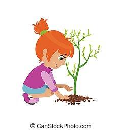 植えつけ, 女の子, 木