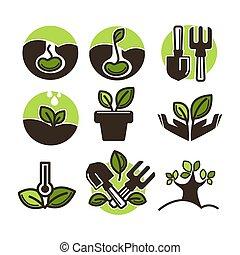植えつけ, 植物, セット, 園芸, アイコン, 芽, 木, ベクトル, ∥あるいは∥