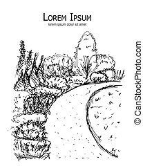 植物園, デザイン, スケッチ, あなたの