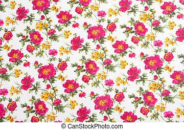 植物的模式, 上, seamless, cloth., 花, bouquet.