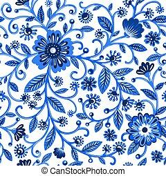 植物的模式, 花, 藍色, 水彩