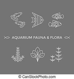 植物相, アイコン, -, ベクトル, 薄いライン, 動物群, 水族館
