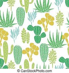 植物相, 生地, ベクトル, 植物, 白, 植物, サボテン, succulents, seamless, print., 緑, pattern.