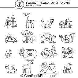 植物相, 線である, アイコン, ベクトル, 森林, fauna.