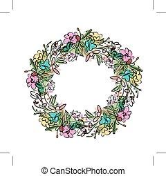 植物群, 勾画, 花冠, 设计, 你