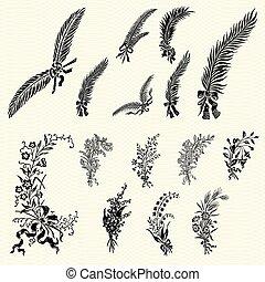 植物群, 放置, 装饰物, 矢量