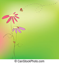 植物群, 春天, 夏天, 卡片, ladybirds