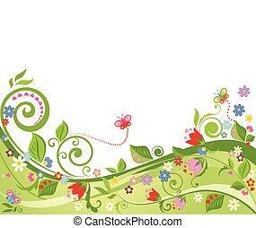 植物群, 春天, 背景