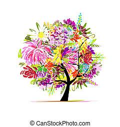 植物群, 树, 设计, 你