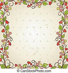 植物群, 矢量, frame., illustration.