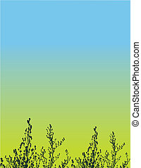 植物群, 矢量, grunge, 背景