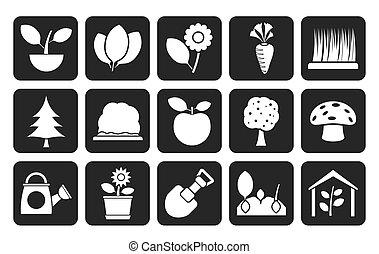 植物, そして, 園芸, アイコン