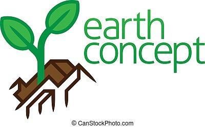 植物, アイコン, 概念, 成長する, 実生植物, 地球, から