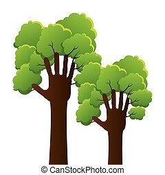 植物, エコロジー, 木, 人間の術中, アイコン
