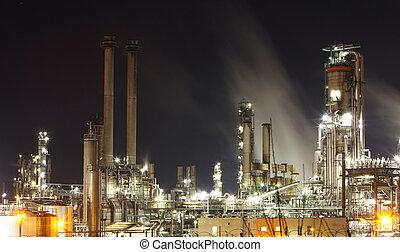 植物, オイル, ガス, 産業, -, 工場, 精製所, 石油化学, たそがれ