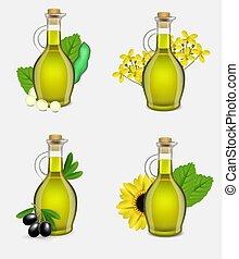 植物, オイル, ガラス, セット, イラスト, 現実的, ベクトル, びん