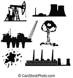 植物, オイル, 力, アイコン, 核エネルギー, ボーリングする, 工場