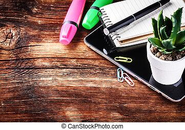 植物, オフィス, タブレット, 緑, 仕事場, デジタル