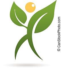 植物, グラフィック, 人々の 歩くこと, ベクトル, デザイン, logo.