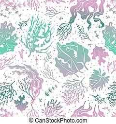 植物, シルエット, 壁紙, pattern., seamless, ベクトル, ケルプ, 海草, 海, 海洋, texture., 無限