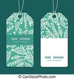 植物, セット, 縦, タグ, パターン, フレーム, ベクトル, 緑の縞, エメラルド