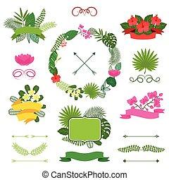 植物, セット, 花輪, labels., トロピカル, リボン