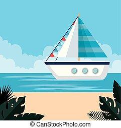 植物, トロピカル, 葉, 浜, 船