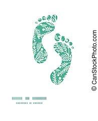 植物, パターン, 足跡, シルエット, ベクトル, 緑, エメラルド, フレーム