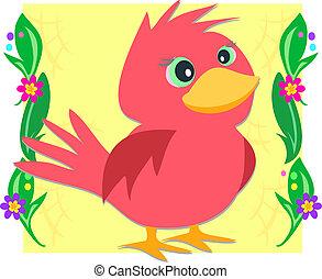 植物, フレーム, 赤い鳥