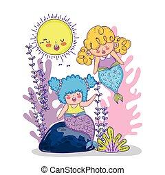 植物, ブランチ, 葉, 海草, mermaid, 女性