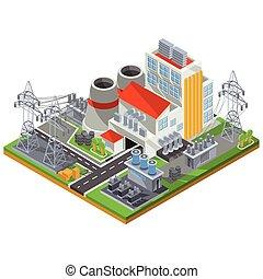 植物, ベクトル, 力, エネルギー, 等大, イラスト, 熱, 生産, 電気である