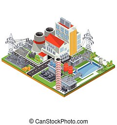 植物, ベクトル, 力, 核エネルギー, 等大, イラスト, 生産, 電気である