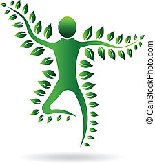 植物, ベクトル, 緑, man., illustratio