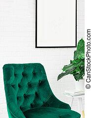 植物, ポスター, ランプ, 緑の椅子, 白