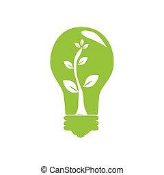 植物, ライト, 中, 木, 緑, 電球