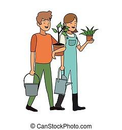 植物, 人々, イメージ, アイコン