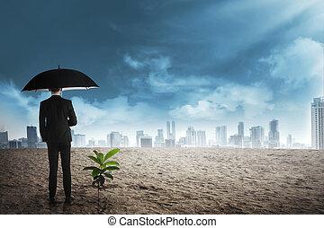 植物, 傘, ビジネス, 成長しなさい, ∥横に∥, 種, 黒, 立ちなさい, 人, 砂漠, アジア人
