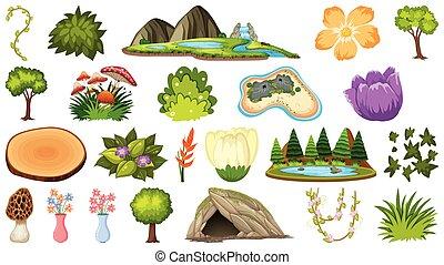 植物, 別, セット, 地形