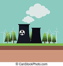 植物, 力, 核エネルギー, タービン, 風