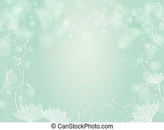 植物, 勾配, bokeh, 緑の背景, ボーダー