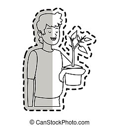 植物, 图标, 形象, 人, 开心
