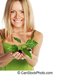 植物, 在, 白膚金髮, 手