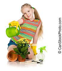 植物, 女の子, 保有物
