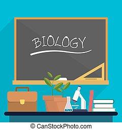 植物, 学校, 教科书, 生物学, 显微镜, 背景, 桌子, board., 公文包, 教师